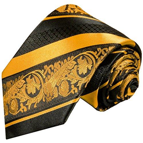 Paul malone cravatta firmata a strisce nere oro 100% seta