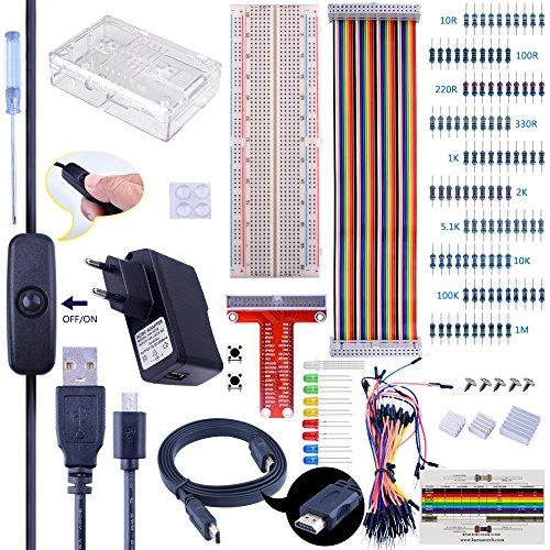 Komplettes Starter Kit für Raspberry Pi, Quimat Ultimate Projekt Kit mit 2,5 A Micro USB Netzteilkabel, Schalter, Kühlkörper und HDMI Kabel