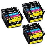 IKONG Kompatibel für druckerpatrone Epson T1291 T1292 T1293 T1294 , Hohe Ausbeute, 18 Packungen (9 Schwarz 3 Cyan 3 Magenta 3 Gelb) , Arbeiten mit Epson WorkForce WF-3520 Office BX535WD SX435W SX525WD SX420W SX235W Drucker