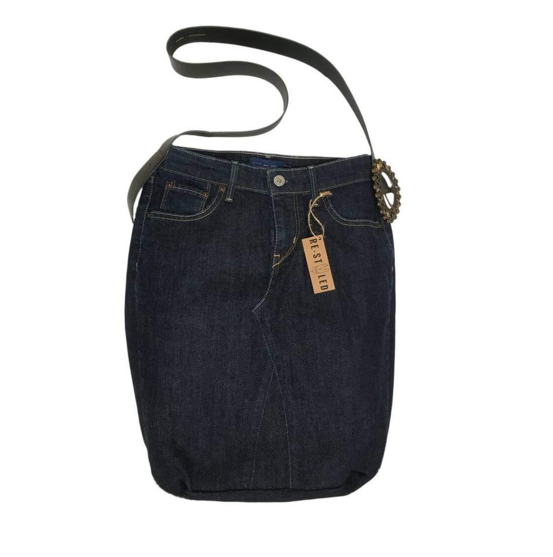 Handmade Jeans Bag, Denim Hobo Shoulder Bag, Recycled Denim Jeans Crossbody Bag, Handmade Craft Bag, Denim Style, Restyled Handbag, Dark Blue - handmade-bags