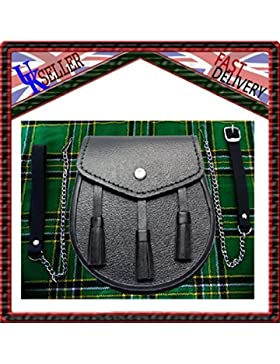 Scottish Black LEATHER Kilt SPORRAN and Belt 3 Tassels leather sporran by SHYNE KILTS U.K