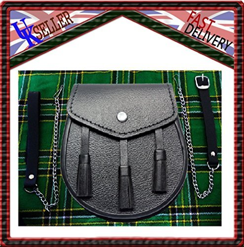 Scottish Black LEATHER Kilt SPORRAN and Belt 3 Tassels leather sporran by SHYNE KILTS U.K -