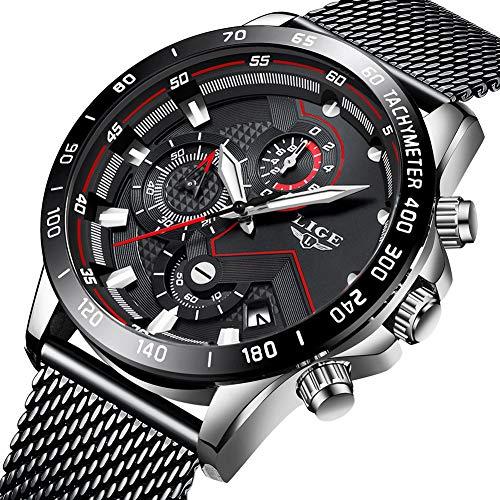 orologio uomo,lige acciaio inossidabile impermeabile analogico al quarzo orologi cronografo quadrante nero data calendario casual orologi da polso con cinturino in maglia