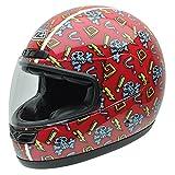 NZI 050268G705 Class Jr Graphics Red Skulls Casco de Moto, Fondo Rojo y Calaveras Azules, Talla 57 (M)