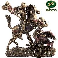 Italfama Firenze statua di San Giorgio e il drago, in resina bronzata rifinita a mano cm.29. 24554 - Mano Drago