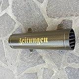 Zeitungsrolle Gold / Altgold mit Verschlussgitter aus Metall pulverbeschichtet und lackiert