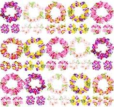 c9ee86f730a3 Blulu 30 Piezas de Diadema Hawaiana Tropical Colorida Elástica Adornos de  Cabeza de Flores para Materiales