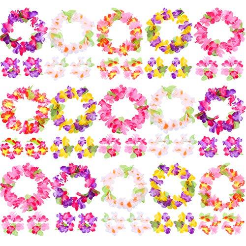 waiian Blume Leis Armbänder Stirnband Tropische Seiden Blume Lei Theme Party Favors Urlaub Hochzeit Strand Geburtstag Dekorationen ()