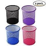 Sungpunet 4pcs Maille en acier à crayons porte-stylo Règle Organiseur Trieur de bureau Clips Collection Tub (couleur aléatoire)