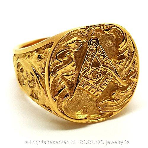 BOBIJOO Jewelry - Chevalière Bague Acier Inoxydable Franc-Maconnerie Equerre Compas Doré Or Fin G - 60 (9 US), Doré Doré