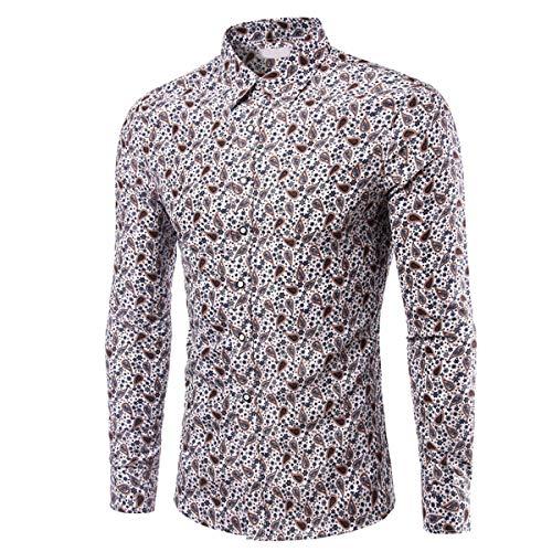B-commerce Business-Shirts für Herren - Herren Frühling langärmelige Patchwork-Verschluss-Streifen Kragen-Hals Button Down Sweatshirts