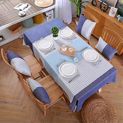 SONGHJ Leinen Tischdecke Landhausstil Plaid Print Multifunktionale Rechteck Tischdecke Tischdecke Home Küche Dekoration Eine 130x220 cm