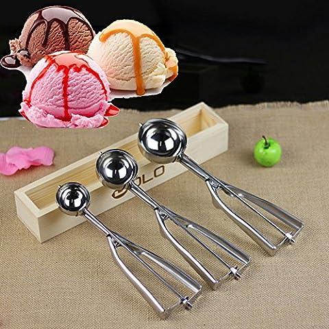 Rosba (TM) 4cm 5cm 6cm cocina helado Mash Potato Cuchara Cuchara de acero inoxidable mango primavera cocina accesorios nueva llegada, 4 cm