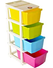 Bathla Stomo 4 – Extra Large Multi-Purpose Modular Drawer Storage System for Home & Office with Trolley Wheels & Anti-Slip Shoes (Multicolour)