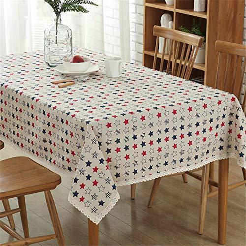 NQING Baumwolle Tischdecke Wasserdicht Und Ölbeständig Stern Muster Home Küche Tischdecke Weihnachtsdekoration Tischdecke A 140x250cm -