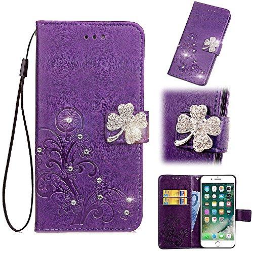Vegan Diamant (Artfeel Leder Brieftasche Hülle Lila für Samsung Galaxy Note 9, Flip Geprägt Blume Handyhülle Luxus Diamant Magnetverschluss Abdeckung mit Handschlaufe/Kartenfächer/Stand)
