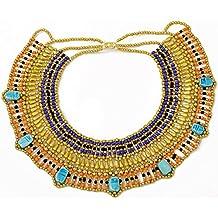 Collar de cuentas dorado de joyería egipcia de la reina Cleopatra hecho a mano. Danza del vientre. Traje
