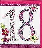 """'Pigmento Productions–Biglietto d' auguri per 18anni Originale–serigrafica mediante Stampa e glitter colorato con busta in formato 16x 18cm Stampa Interna """"Happy Birthday zb729"""