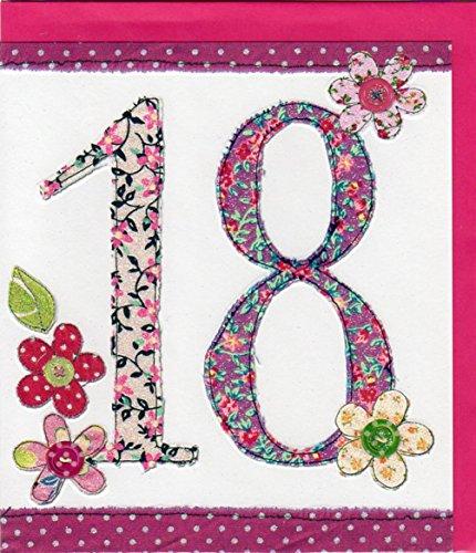 Pigment Productions Originelle Grusskarte zum 18. Geburtstag - veredelt durch Prägung und Glitter mit farbigem Umschlag im Format 16x18cm Innendruck