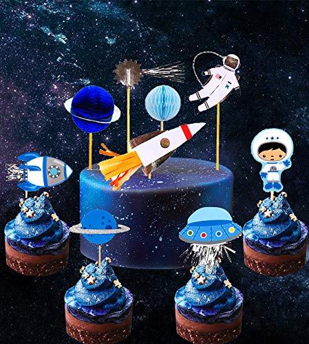 28 Stück JeVenis Space Astronaut Cupcake Toppers Rakete Kuchen Dekorationen Erde Cupcake Toppers für Weltraum Party Kinder Planeten Geburtstag Party Sterne Babyparty (Kuchen Toppers Kinder)