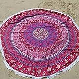 klinkamz Mikrofaser 145cm rund Strandlaken Strandtuch mit Fransen Bohemia Bedruckt Handtücher für Erwachsene