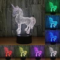 RUMOCOVO® Cute Unicorn 3D LED Night Light Girl Princess Gift RGB 7 Color Home Office Decorations Lamp Birthday Christmas Gifts Cartoon Toy