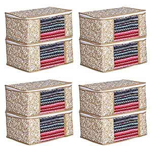 Porchex Presents Non Woven Saree Cover Storage Bags for Clothes with primum Quality Combo Offer Saree Organizer for Wardrobe/Organizers for Clothes/Organizers for Wardrobe (Pack of 8)