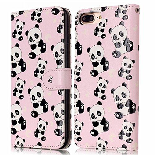 iPhone 7 Plus Coque,Housse iPhone 7 Plus Coque Cuir,iPhone 7 Plus Coquille en Cuir Pu Housse Etui Folio Case iPhone 7 Plus Romantique Élégant Beau Joli Fleurs Papillon Intéressant Ours Panda vivant Mo Mini panda