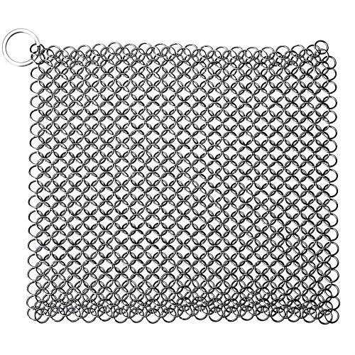 Stainless Steel Iron Cleaner Durable Metal Chainmail Scrubber for Skillet Pan Pot Wok Cookware Cleaning, Square