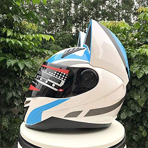 Pkfinrd Casco moto integrale casco moto integrale doppio obiettivo casco integrale casco integrale con orecchie da gatto con casco angolare - materiale ABS@Bianco blu_XXL
