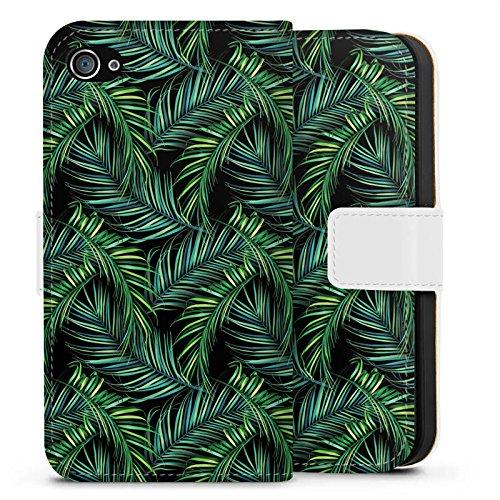 Apple iPhone X Silikon Hülle Case Schutzhülle Palmen dschungel Natur Sideflip Tasche weiß
