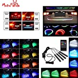 MotoPanda Combo of 4 In1 Atmosphere Music Control 9 Led Foot Strip Light Car Interior Decorative Light + Flow Led Strip Trunk / Dicky / Boot / Tail Lights Streamer Brake Turn Signal Light universal for all Cars