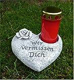 Home3010 Grabschmuck Deko Herz mit Ausschnitt für Grabkerze, Rose, grau-antik 19 cm
