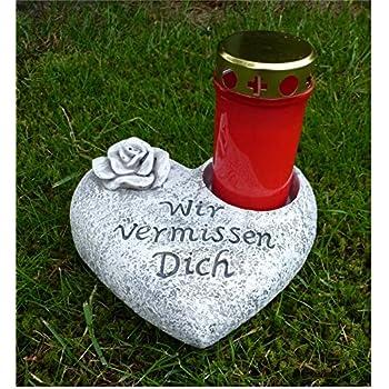 Grabschmuck Herz Grab Deko Grabherz Grableuchte Grablicht Rose