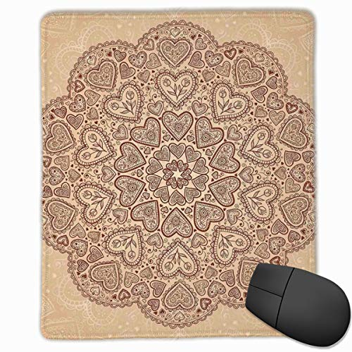 Mouse Mat Stitched Edges, Ethnic Heart And Tulip Motifs Antique Floral Oriental Asian Vintage Boho Chic,Gaming Mouse Pad Non-Slip Rubber Base Tulip Magic