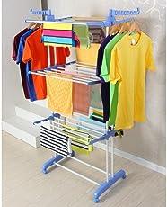 Styleys Premium Heavy Duty Stainless Steel Cloth Drying Stand/Cloth Dryer Stand/Cloth Stand for Drying - Prince Jumbo - 2 Poll - 3 Layer