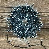 Catena Nastro di Luce 40,5 m, 2000 led bianco Freddo, fascio luce Ø 6 cm, cavo verde, luci decorative, luci natalizie, catena per albero di Natale