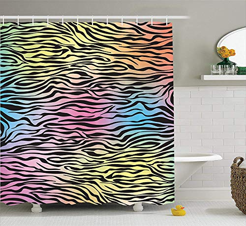 BUZRL Zebra Print Decor Shower Curtain Set, Colorful Zebra Pattern Wild Animal Wilderness Themed Stylized Artwork Print, Bathroom Accessories, 66x72 inches Extralong, Yellow Coral Pink