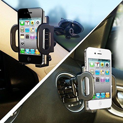 3in 1KFZ-Halterung, Mount Secure Handy/GPS, um Windschutzscheibe oder Air Vent, gepolsterte, verstellbare Griff, passt iPhone 66+ 5Galaxy S6S5Handys -