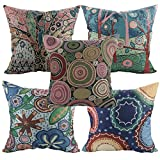Luxbon Set of 5 Pcs Woodland Trees Cushion Covers 45cm x 45cm Durable Cotton Linen Throw Pillowcase 18 x 18 Sham Tapestry Jacquard Pillow Cover Gifts for Sofa Garden Home Decors