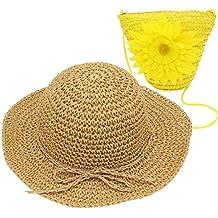 80a7a20ca1a0b YOPINDO Sombrero de Paja niños niñas Sombrero Monedero Conjunto Sombrero de  Paja Sol Floppy Summer Beach
