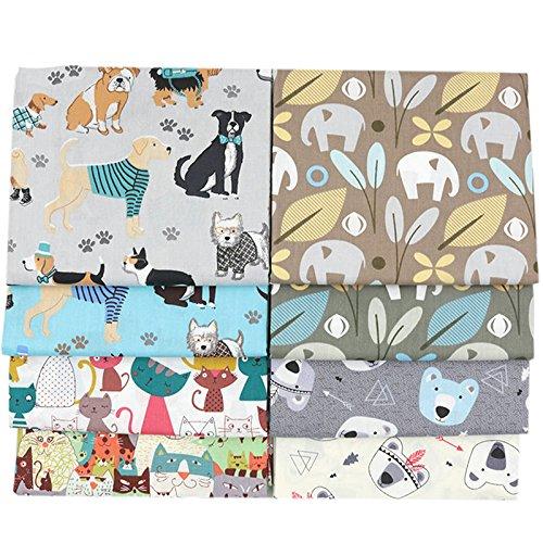 Baumwollstoffe, bedruckt mit Tiermotiven, 40 x 50 cm, 8 Stück, für Patchwork und zum Quilten und ()