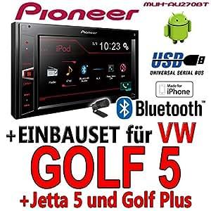 VW golf 5 v-pioneer mVH-aV270BT - 2DIN autoradio multimédia avec bluetooth et sans cD