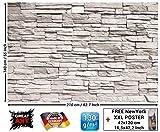 GREAT ART Fototapete - White Stonewall - Wandbild Dekoration Steintapete 3D Stein Mauer Wandverkleidung Steinoptik weiß Steinwand Steinmauer Foto-Tapete Wandtapete Fotoposter Wanddeko (210 x 140 cm)