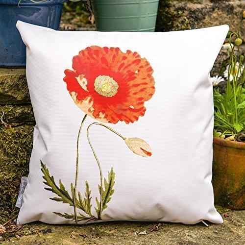 Gartenkissen Wasserdicht Cremefarben Vintage Mohnblumen Design - Set mit 2 Kissen 50 x 50cm