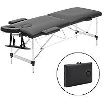 Meerveil Table de Massage Pliante, Lit Cosmétique Pliante Aluminium Professionnel, Lit de Massage Portable, avec Housse de Transport (2 Zone, Noir)