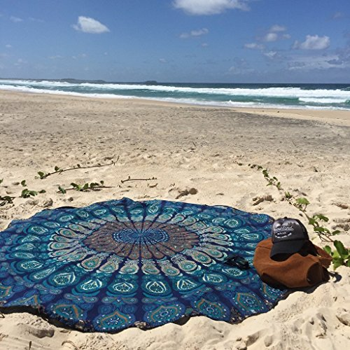 Manfâ Feather Peacock Round Mandala Tapestry, Hippie Hippy Style, Throw Bedding Bedspread, Gypsy Wall Hanging, Indian Boho Gypsy Cotton Tablecloth Beach Towel, Decorative Wall Hanging, Round Meditation Yoga Mat
