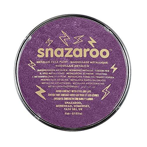 Snazaroo 1118881 Kinderschminke, hautfreundliche hypoallergene Gesichtschminke auf Wasserbasis, wasservermalbar, parabenfrei, schimmernd Lila, 18 ml Topf