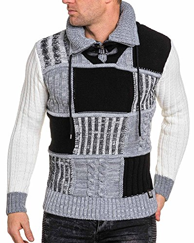 BLZ jeans - Pull tricolore homme maille quadrillée épaisse Blanc