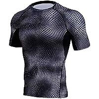 ZIYOU Herren Workout T Shirts, Sportlich Shirt Bluse/Männer Leggings Fitness Sport Gym Running Yoga Kurzarm Tee